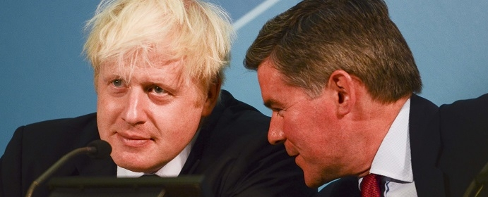 With Boris Johnson (Photo: Steve Back / Rex Features)